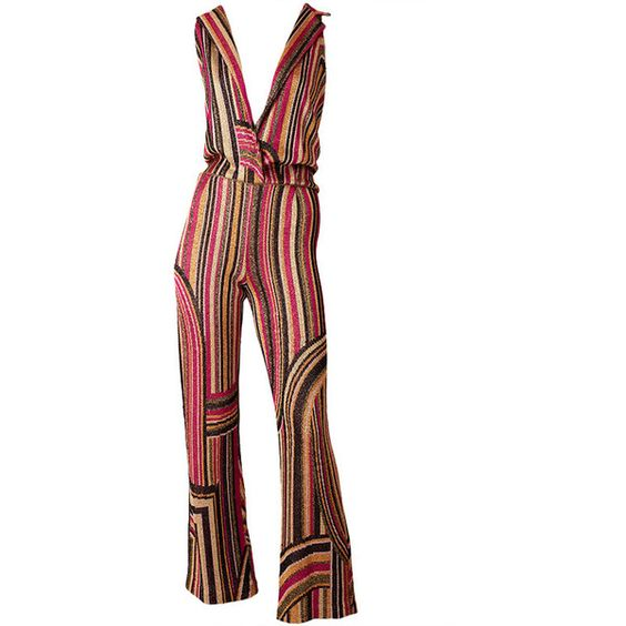Missoni Lurex Jumpsuit ❤ liked on Polyvore featuring jumpsuits, pants, bell bottom jumpsuit, jump suit, missoni, patterned jumpsuit and patterned bell bottoms: