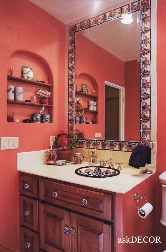 images of mexican decor | colorful Mexican tile surround the built-in mirror