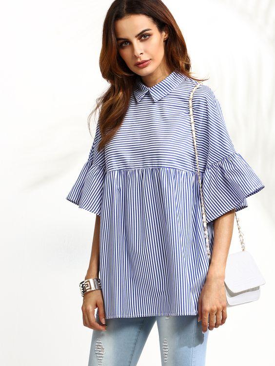Shop Blue Striped Ruffle Sleeve Babydoll Blouse online. SheIn offers Blue…