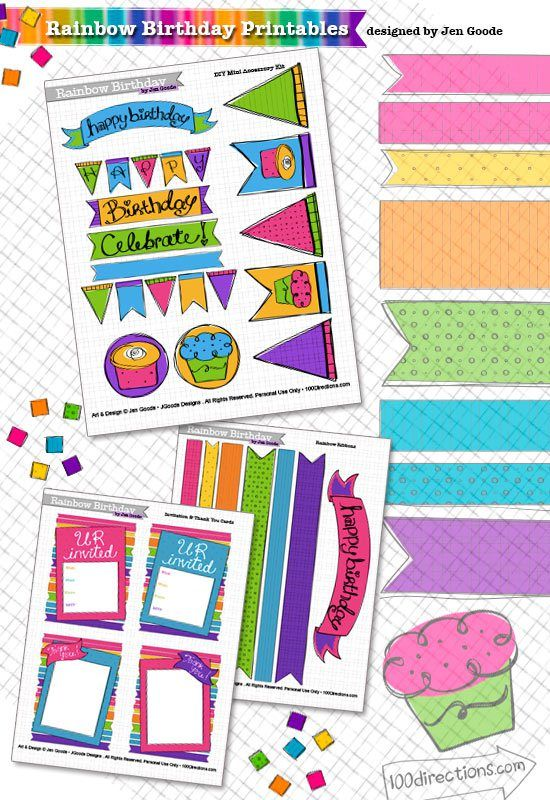 Rainbow Birthday Party Printables designed by Jen Goode