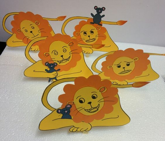 Stick puppets for the story, The Lion and the Mouse.