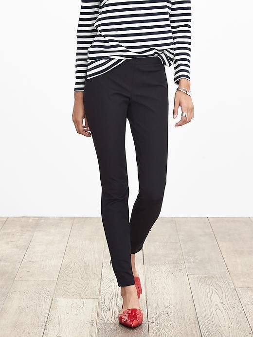 french women style, red flats, black cigarette pants, black and white stripped shirt