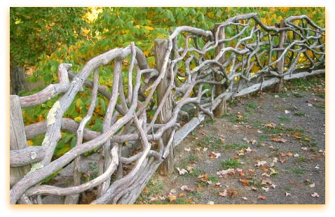 """Beautiful, amazing fence. Lovely example of 'Adirondack' fencing at """"Olana"""", historic home of the famous landscape painter, Frederic Church, located in the Hudson River Valley. If you have the opportunity to go, you should do so..."""