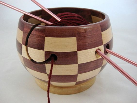 Knitting Bowls Wood : Wooden maple knitting bowl as shown in knit wear magazine