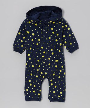 Look what I found on #zulily! Navy & Yellow Star Hooded Playsuit - Infant by Leveret #zulilyfinds