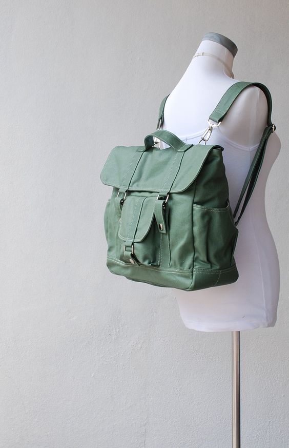 Christmas in July SALE - Pico2  Wax Canvas Convertible Backpack in  Army Green - Unisex Satchel / Messenger / Backpack. $69.00, via Etsy.