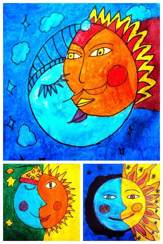 Soleil la lune and la lune on pinterest for Couleur chaudes et froides