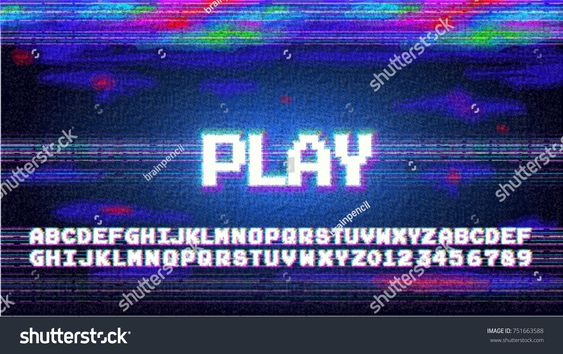Vector Play Alphabet Letters Font Phrase In Pixel Art Style With Screen Glitch Vhs Effect 80 S And Lettering Alphabet Fonts Lettering Alphabet Lettering Fonts