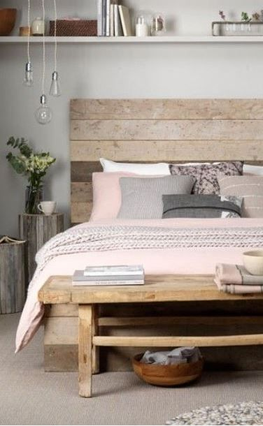 Isn't the pink a sweet counterbalance to the reclaimed wood ? The best of both worlds! #staging #bedroom liked@ stagedtodaysoldtomorrow.com