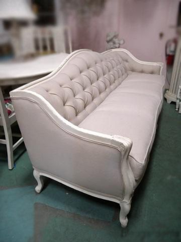 Antique French Linen Tufted Sofa By Deerstopvintagehome On