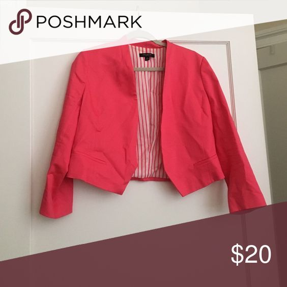 """Ann Taylor pink cropped blazer Hot pink cropped blazer. Worn once. 17.5"""" shoulder to hem, 20"""" shoulder to cuff (3/4 sleeves), 18-19"""" armpit to armpit Ann Taylor Jackets & Coats Blazers"""