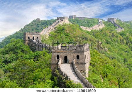 Great Wall of China in Summer - stock photo