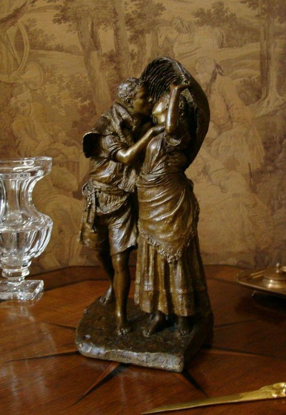 Antike Originale Vor 1945 Bronzefigur Büste Bronze Gruppe Frau Mit Engel Kind Frankreich Um 1900