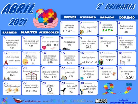 Calendario Segundo ABN – Abril 2021
