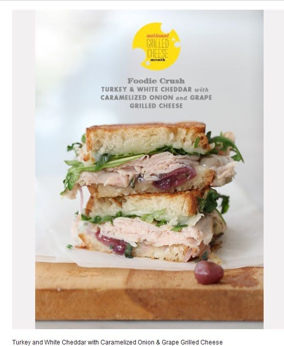Turkey and cheddar sandwich with caramelized onion and grapes