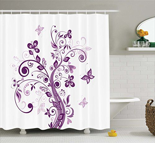 Ambesonne Mauve Butterfly Decor Shower Curtain Butterfly Shower