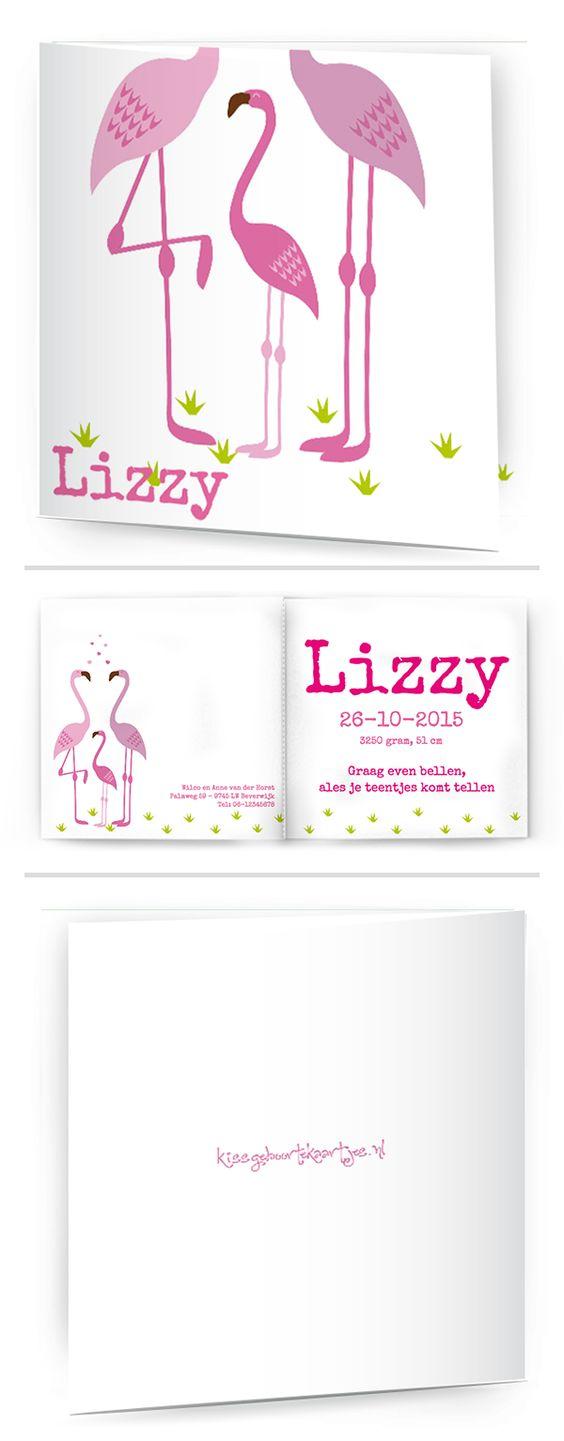 Bekijk de leukste kaartjes op onze site | http://www.kissgeboortekaartjes.nl | #baby #geboortekaartje  #kissgeboortekaartjes #flamingo #algemeen
