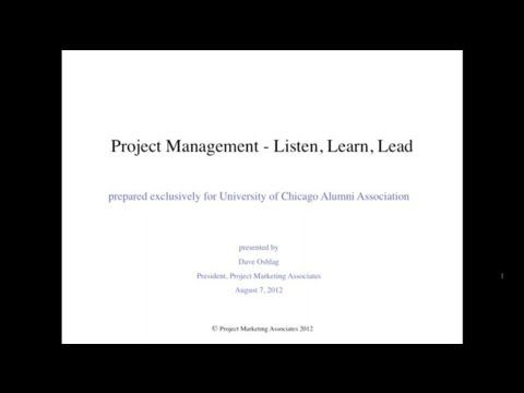 Project Management: Listen, Learn, Lead