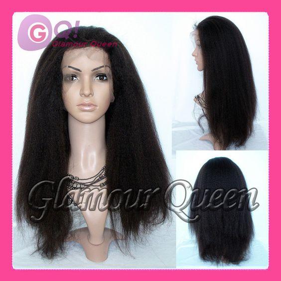 Gq!!! New Human Hair Wigs Cheap Brazilian Virgin Human Hair Wig Italian Yaki Lace Front Wig & Full Kinky Straight Babyhair