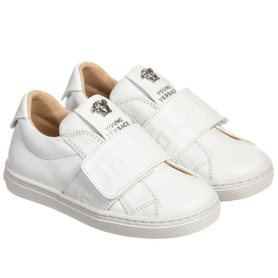 Young Versace - White Leather Trainers | Childrensalon
