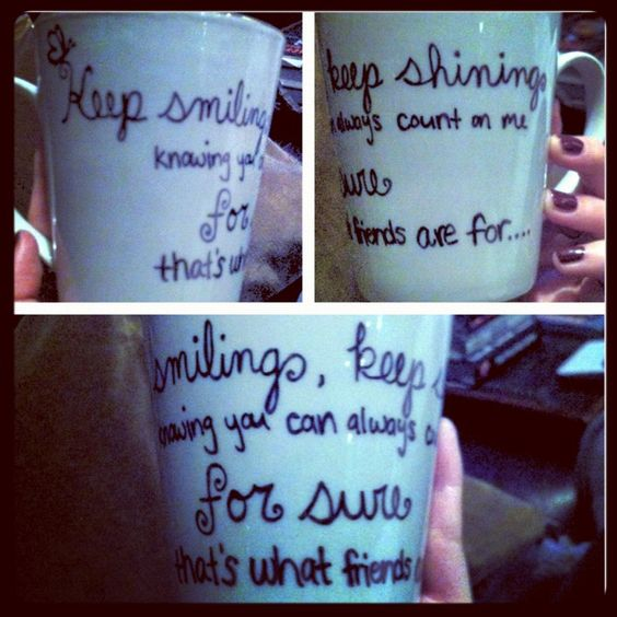 Bridesmaids quote mug :) Write with sharpie and bake at 450 for 30 mins.