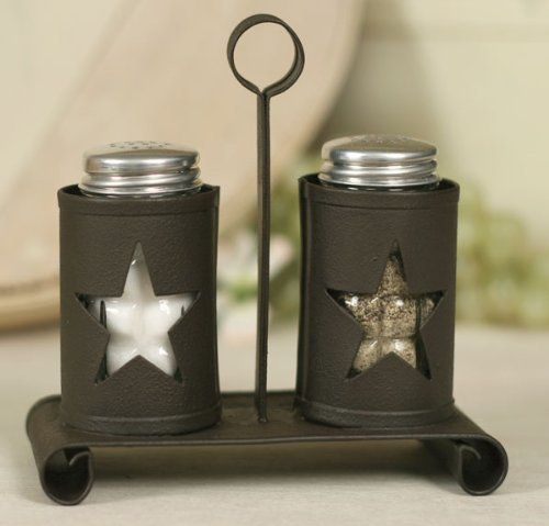 Pennsylvania Star Salt and Pepper Shakers with Caddy by Colonial Tin Works.