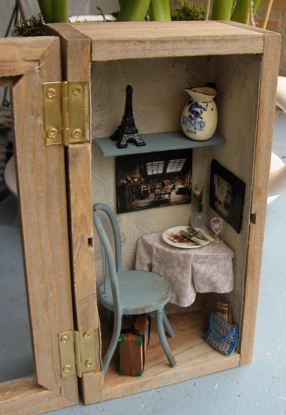 miniature corner dining room box room boxes pinterest gardens fine dining and miniature rooms. Black Bedroom Furniture Sets. Home Design Ideas