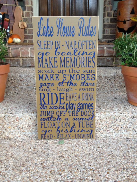 Great addition to any Lake House! Ships out next day! Real wood sign measures approx. 12x24 and states: Lake House Rules    Sleep In - Nap