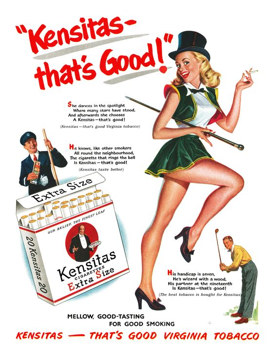 1952 Kensitas Cigarettes ad