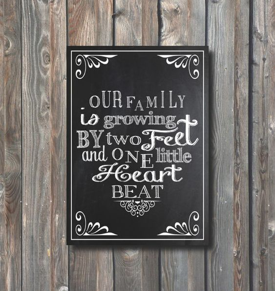 Printable Pregnancy Announcement –Pregnancy Chalkboard Sign–Pregnancy Reveal Sign-Printable Our Family Is Growing Sign-Pregnancy Card-PA15