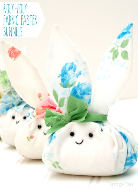 Roly Poly Fabric Easter Bunnies: