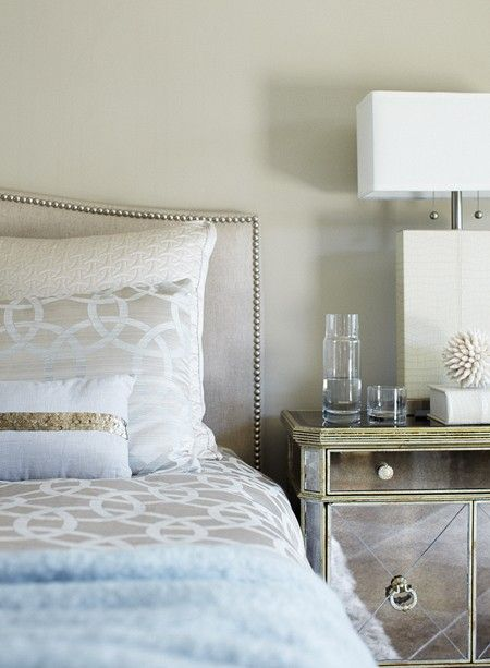 Love the mirrored side table and the headboard. The mix of bedding is pretty fabulous too.: Guest Room, Bedside Table, Guest Bedroom, Master Bedrooms, Bedroom Makeover, House Idea