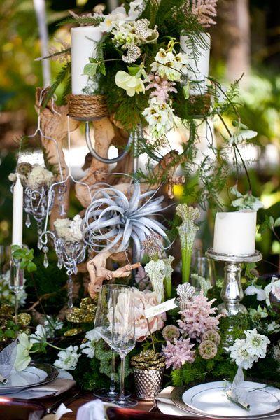 "Natural wedding centerpiece idea for ""rustic romance"