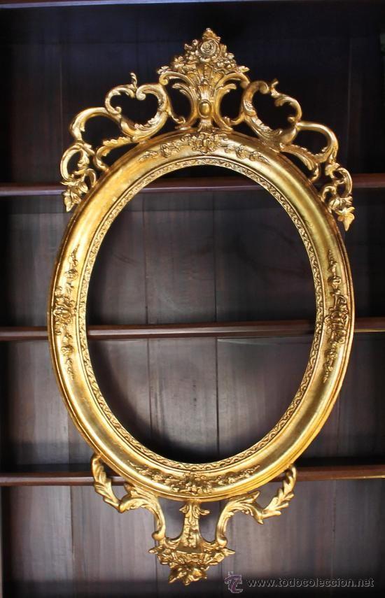 Antiguo marco ovalado de madera dorado 4 puntos para colgar decoraci n pinterest - Marcos de fotos para colgar ...