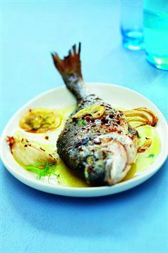 ROASTED WHOLE SEA BREAM with FENNEL & LEMON [cuisine.larousse]