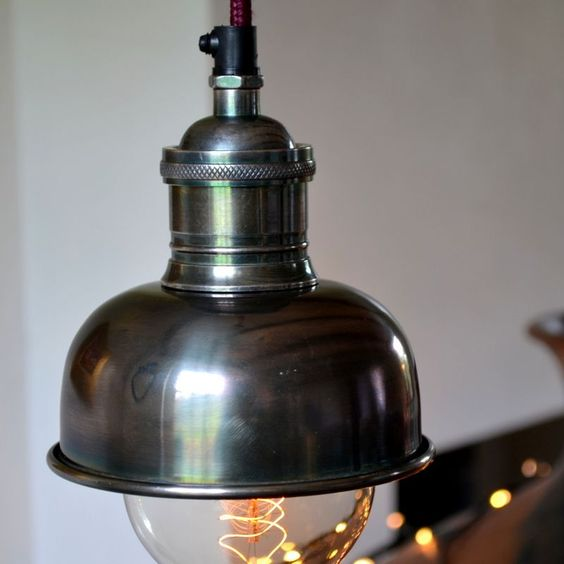 Industrial Vintage Pendant Lighting - brass Pendant in Antique Nickel Gorgeous solid brass pendant light with & Industrial Vintage Pendant Lighting - brass Pendant in Antique ... azcodes.com