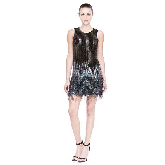 Feather Hem Cocktail Dress