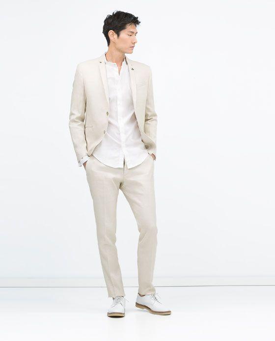 zara homme costume en lin stretch lin pinterest vestes de lin costumes et zara. Black Bedroom Furniture Sets. Home Design Ideas