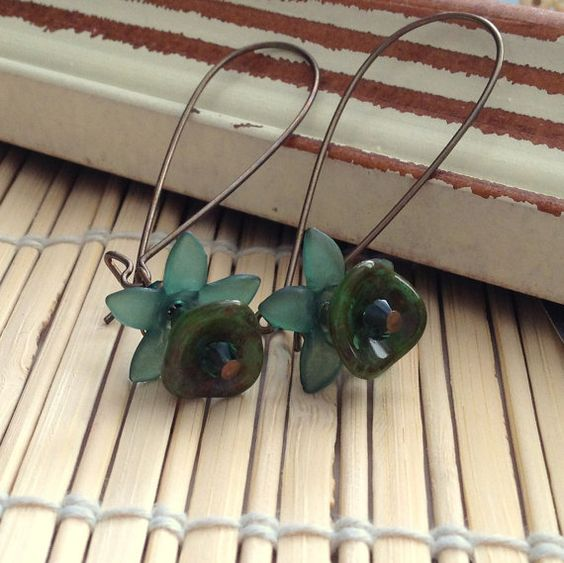 Green flower earrings on brass vintage by Allthingsbeaded2 on Etsy, $15.00