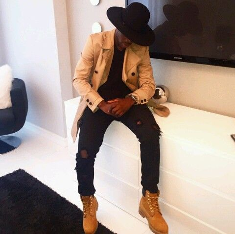 Men Fashion Smart Suave Camel Trench Coat Bowl Hat Timberland Boots Style Trend | Distinguished ...