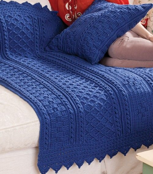 Diamond Afghan Knitting Pattern : Basketweave Diamond Throw & Pillow - Free Pattern Crochet: Afghans Pi...