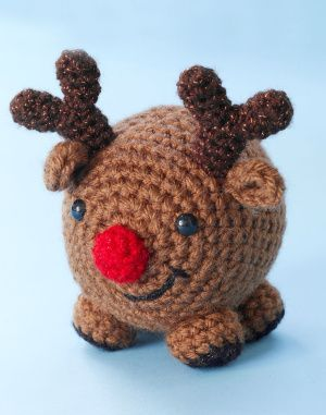 Crochet this adorable reindeer for a child's toy or an ornament on the tree!