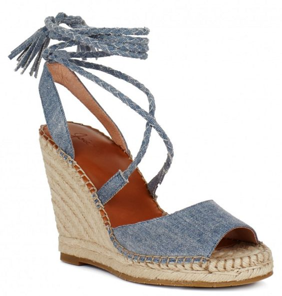 Braided Ankle-Tie Denim Espadrille Wedges