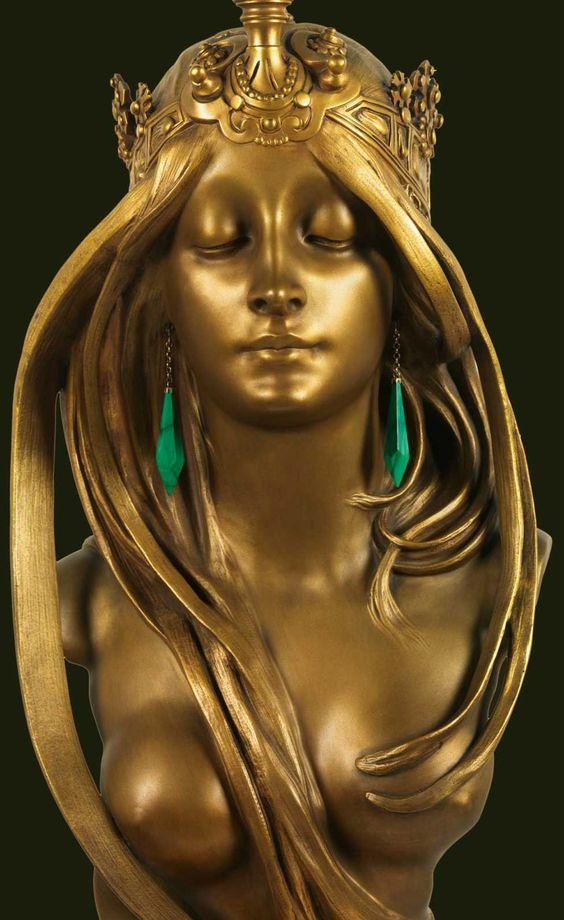 Alfons Mucha - Buste 'La Nature' - Bronze Patiné Doré et Malachite - Vers 1900