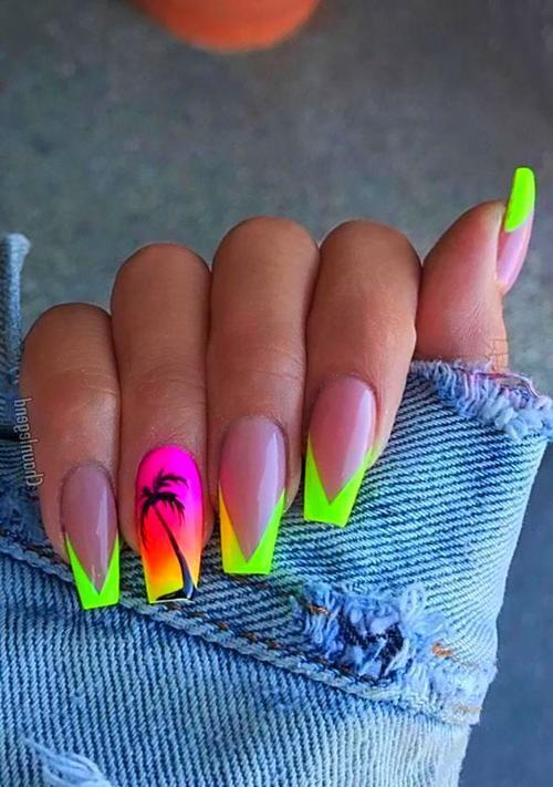 Nail Art Palm Tree Nails Nails Tree Nails
