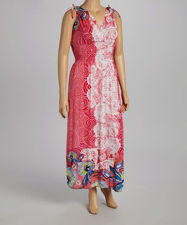 Love this Pink Floral Surplice Maxi Dress - Plus by Black Mountain Apparel on #zulily! #zulilyfinds