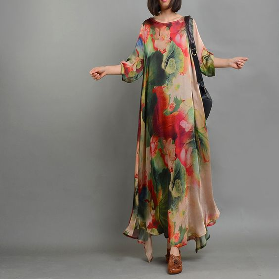 Retro Style Lotus Prints Plus Size Maxi Dress Asymmetric Tencel Elegant Dress    #elegant #lotus #prints #silk #tencel #plussize #dress #fashion #summer #maxi