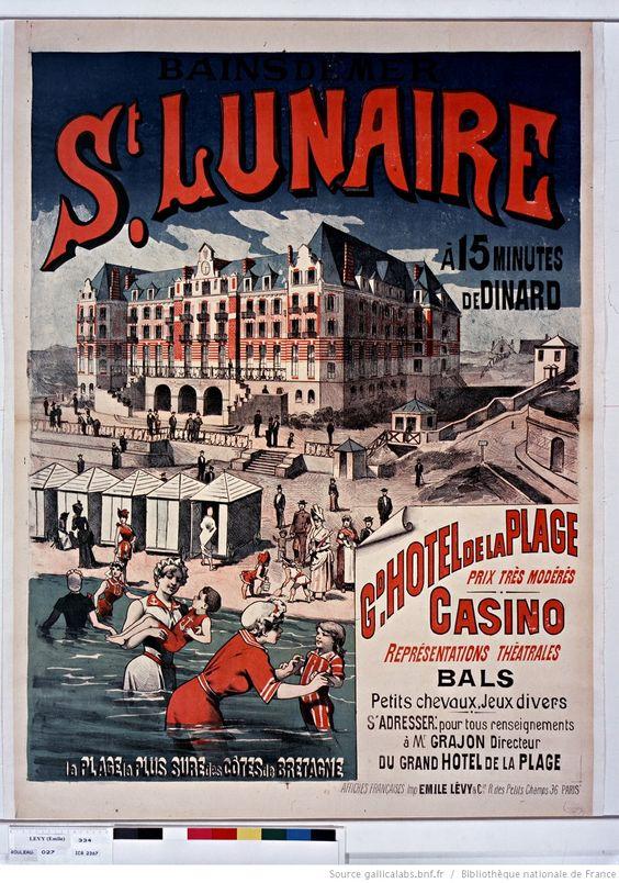 Bains de mer St Lunaire à 15 minutes de Dinard. Gd Hotel de la Plage...Casino...la plage la plus sûre des côtes de Bretagne : [affiche] / [non identifié]