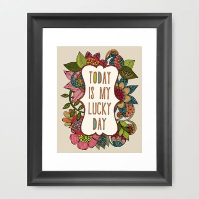 Today is my lucky day Framed Art Print by Valentina Harper - $35.00