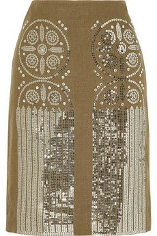 Tory Burch Ciara sequined linen skirt | THE OUTNET